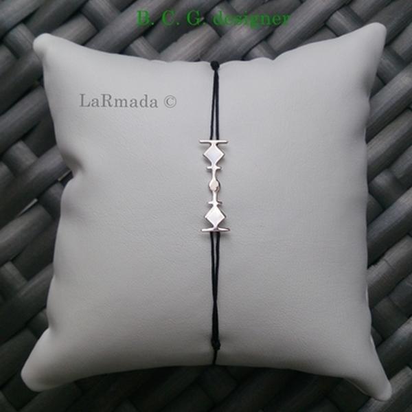 Larmada S bracelet sur cordon argent bcg designer artiste créateur