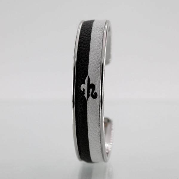 Bracelet LARZO Jonkar Fleur de Lys Bi-Longe Noir sur cuir
