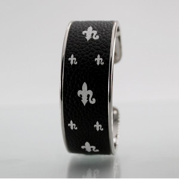 Miniature Bracelet LARZO Jonkar Fleur de Lys castle blanc sur cuir