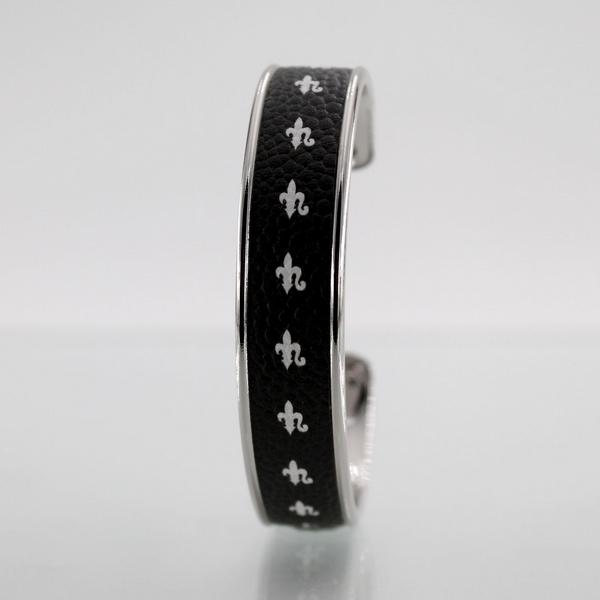 Miniature Bracelet LARZO jonkar Fleur de Lys ligne blanc sur cuir