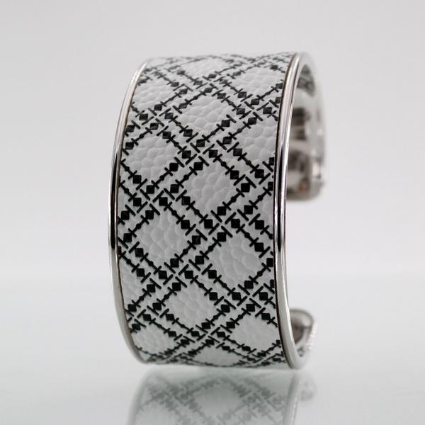 Bracelet LARZO Jonc plat LARMADA Multiple Noir sur cuir