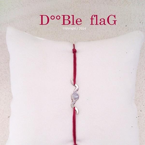 Z°ZO Double Flag argent rhodié Bracelet bcg designer artiste créateur
