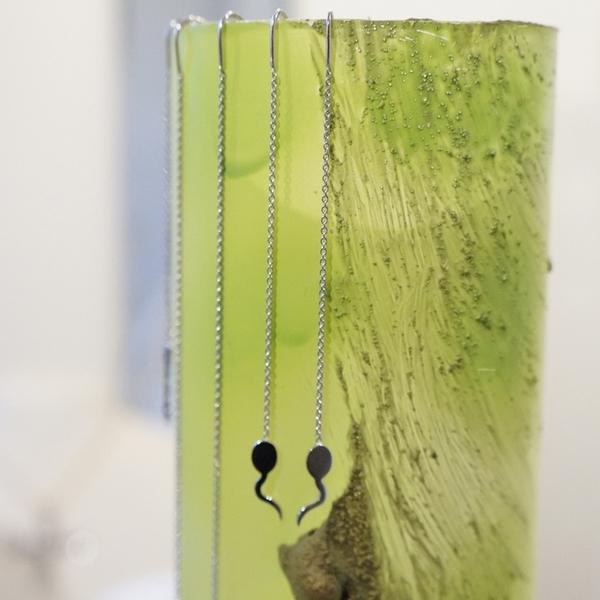 Miniature Z°ZO Boucles Oreilles Chaînette 7 cm bcg designer artiste créateur