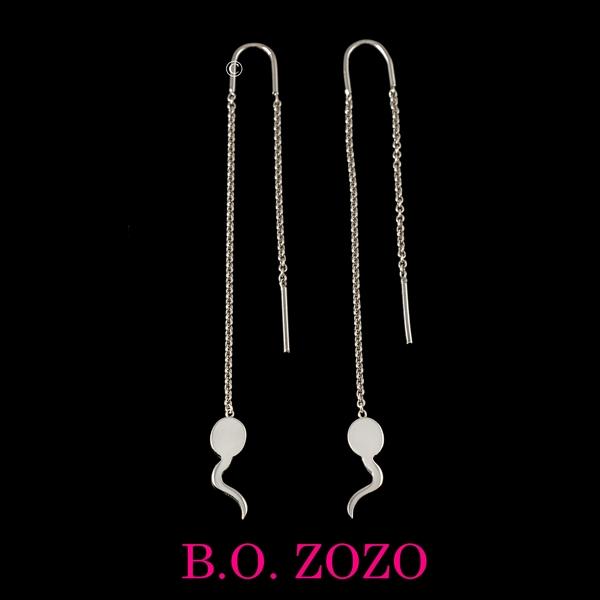 Z°ZO Boucle d'Oreilles sur Chaine 5 cm bcg designer artiste créateur
